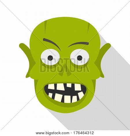 Green zombie head icon. Flat illustration of green zombie head vector icon for web isolated on white background