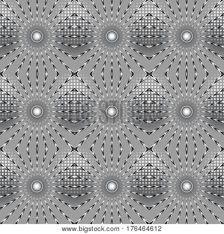 Abstract grey background of rays and balls