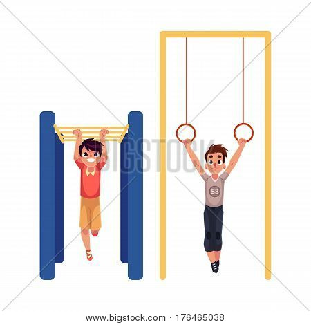 Teenage Caucasian boys hanging on gymnastic rings and monkey bars at the playground, cartoon vector illustration isolated on white background. Boys doing gymnastic exercises at the playground