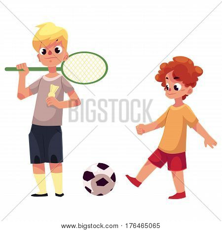 Two boys playing badminton and football at the playground, cartoon vector illustration isolated on white background. Boy friends playing with badminton racket, birdie, football ball at the playground