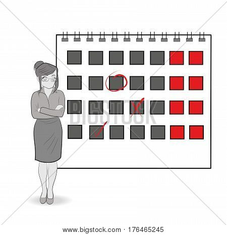 Businesswoman near the calendar. Strategy planning. vector illustration.
