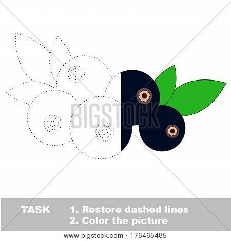 Bilberry in vector to be traced. Restore dashed line and color the picture. Easy educational kid gaming with simple level of difficulty.