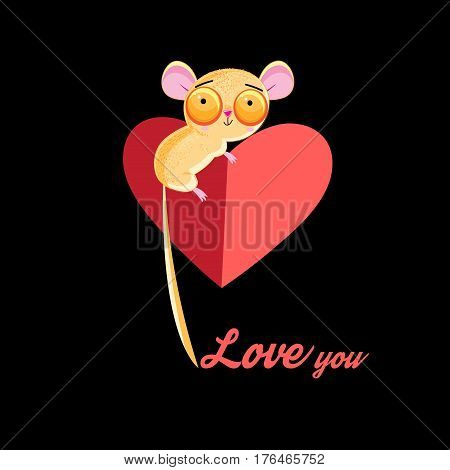 Loving little tarsier with a heart on a dark background