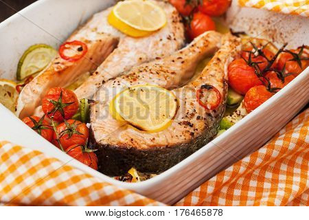 Delicious Fresh Salmon And Vegetables