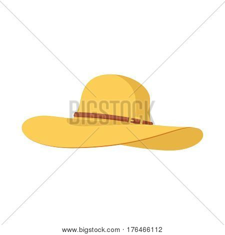 beach hat panama icon. Pretty straw hat with bow on white background. Hat icon isolated on white background