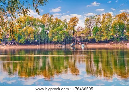 Bank of the river with reflections in water