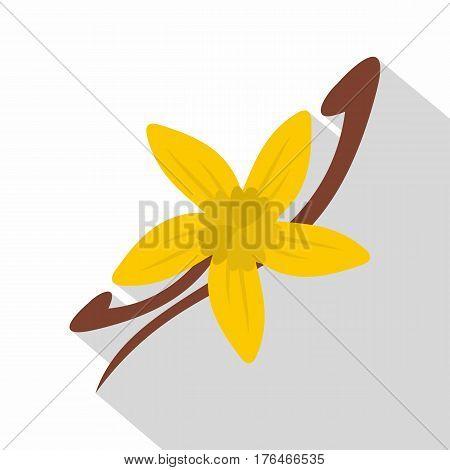 Vanilla pods and flower icon. Flat illustration of vanilla pods and flower vector icon for web isolated on white background