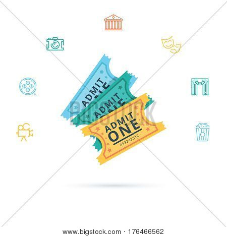 Tickets Museum and Theater Set Admit Exposition or Concert Flat Design Style. Vector illustration