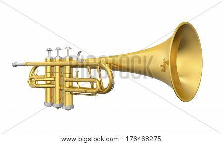 Golden Trumpet isolated on background. 3D render