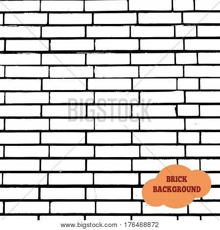 White brick wall background.  Vector illustration. masonry