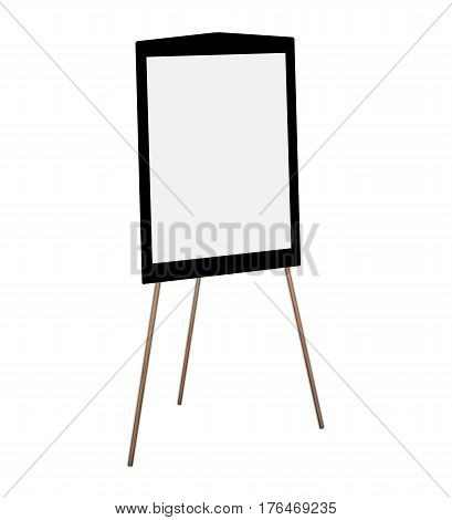 Presentation easel drawing whiteboard Isolated on white background Memo board or message board stand. Template mock up for adding your design and adding more text. (Clipping path included)