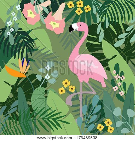 Summer tropical background. Flamingo bird with palm and banana leaves, monstera and datura flowers, stock vector illustrations, flat design.
