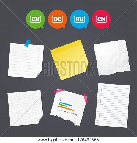 Business paper banners with notes. Language icons. EN, DE, RU and CN translation symbols. English, German, Russian and Chinese languages. Sticky colorful tape. Speech bubbles with icons. Vector