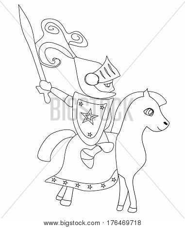 knight with sword riding on a horse , doodle