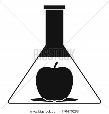 Test flask with apple icon. Simple illustration of test flask with apple vector icon for web