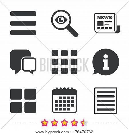 List menu icons. Content view options symbols. Thumbnails grid or Gallery view. Newspaper, information and calendar icons. Investigate magnifier, chat symbol. Vector
