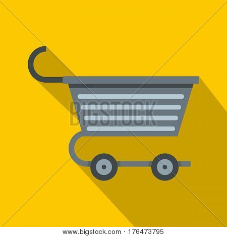 Metal trolley icon. Flat illustration of metal trolley vector icon for web isolated on yellow background
