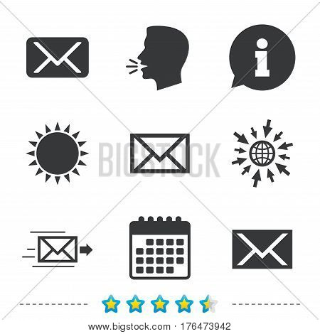 Mail envelope icons. Message delivery symbol. Post office letter signs. Information, go to web and calendar icons. Sun and loud speak symbol. Vector