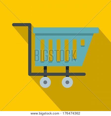 Blue shopping trolley icon. Flat illustration of blue shopping trolley vector icon for web isolated on yellow background