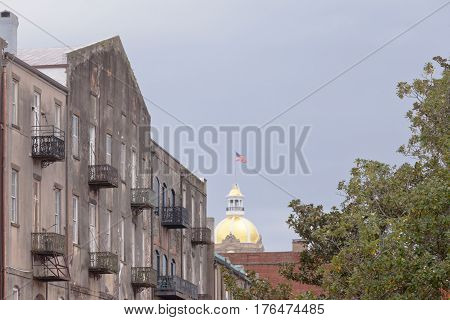 Old Building Facades And City Hall Savannah Ga