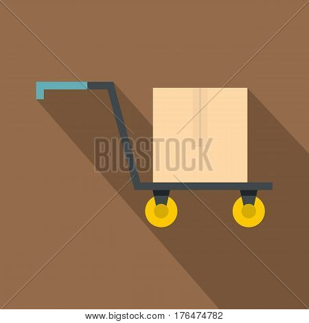 Hand truck with cardboard box icon. Flat illustration of hand truck with cardboard box vector icon for web isolated on coffee background