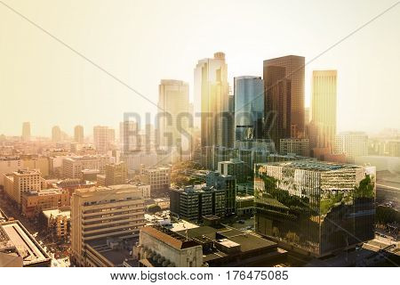 Los Angeles California USA downtown cityscape at sunset