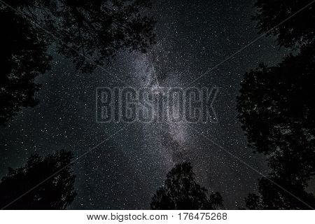 Falling stars in Milkyway at the night black sky