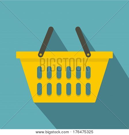 Yellow plastic shopping basket icon. Flat illustration of yellow plastic shopping basket vector icon for web isolated on baby blue background