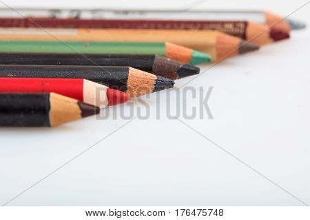 Makeup Pencils Set Isolated On White Background