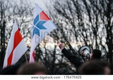 Minsk Belarus - March 15 2017 - The leader encourages people to protest against the decree 3 'On prevention of social parasitism' of President Lukashenko in the center of Minsk
