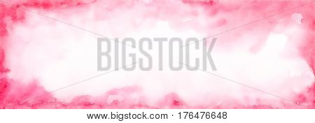Pink Long Watercolor Banner.