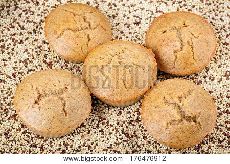 Homemade quinoa muffins. Gluten free cupcakes. Quinoa seeds.