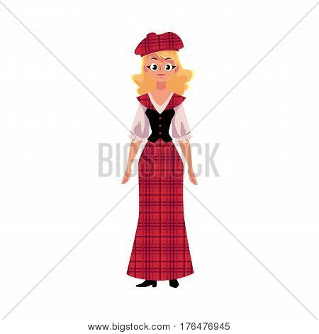 Scottish woman in traditional national costume, tartan beret and long kilt, cartoon vector illustration isolated on white background. Full length portrait of Scottish woman in tartan, plaid and kilt