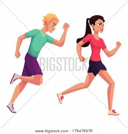 Couple of runners, sprinters running, race, competition, healthy lifestyle concept, cartoon vector illustration isolated on white background. Male and female runners, sprinters, joggers