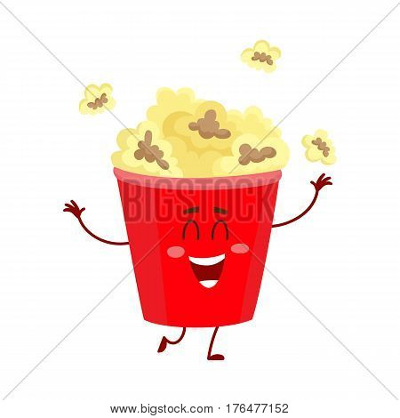 Cute and funny cinema popcorn in red bucket character with smiling human face, cartoon vector illustration isolated on white background. Smiling cinema popcorn bucket character, mascot