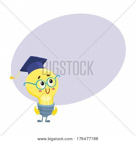 Cute light bulb character with funny face, wearing nerd round glasses and graduation cap, cartoon vector illustration with place for text. Funny light bulb clever character in glasses