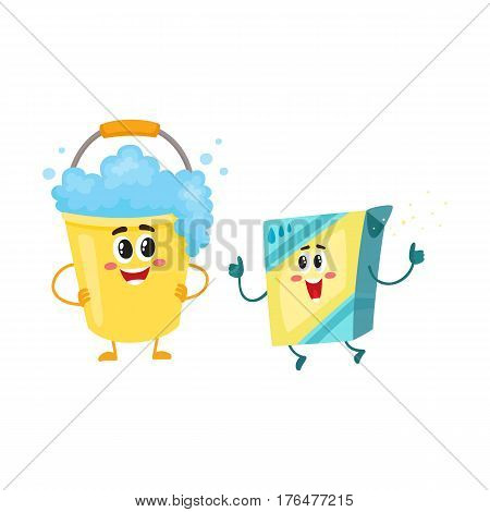 Funny washing powder, laundry detergent and soap foam bucket characters with smiling human faces, cartoon vector illustration isolated on white background. Washing powder, soap foam bucket characters