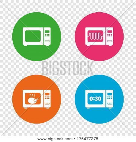 Microwave oven icons. Cook in electric stove symbols. Grill chicken with timer signs. Round buttons on transparent background. Vector