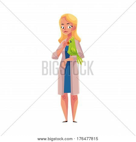 Young woman, female veterinarian doctor, vet in white medical coat holding parrot, cartoon vector illustration isolated on white background. Female, woman veterinarian doctor, vet holding a parrot