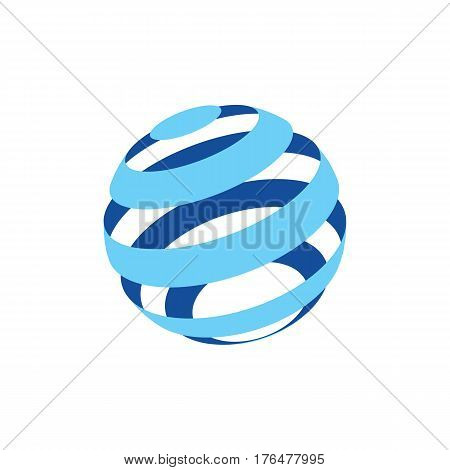 Abstract logo of a globo made of blue stripes on a white background