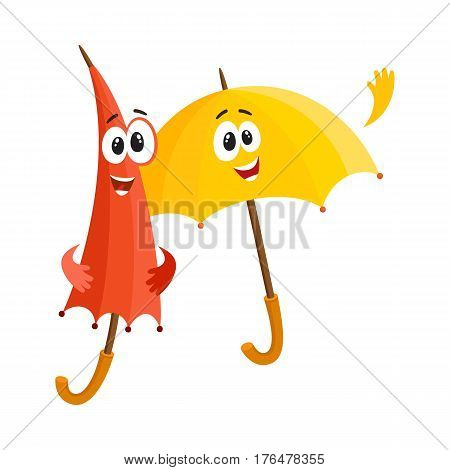 Two funny umbrella characters with human faces, open and closed, saying hello, cartoon vector illustration isolated on white background. Couple of funny umbrella, parasol characters, greeting gesture
