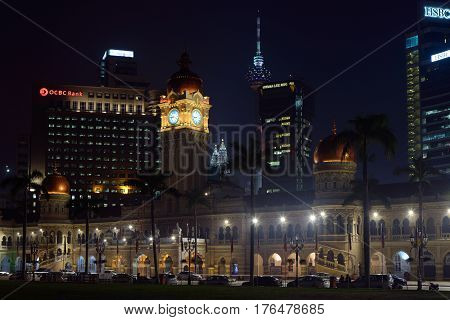 Kuala Lumpur Malaysia - November 3 2014: Palace of the Sultan Abdul Samad considered one of the most recognizable landmarks of Kuala Lumpur lit up. Today the palace is placed the Supreme Court of Malaysia.
