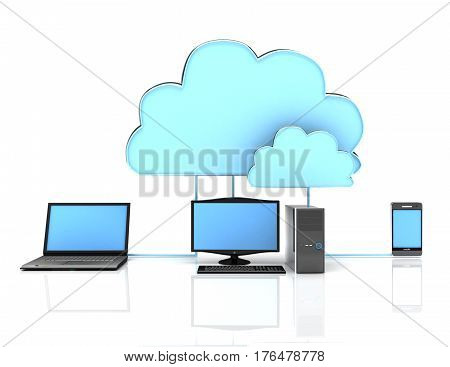 3d Cloud computing concept on white background. rendered illustration
