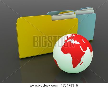 3D rendered Illustration. Global network folder - shared directory.