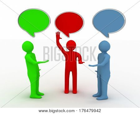 3d people - human character person and speech bubbles .