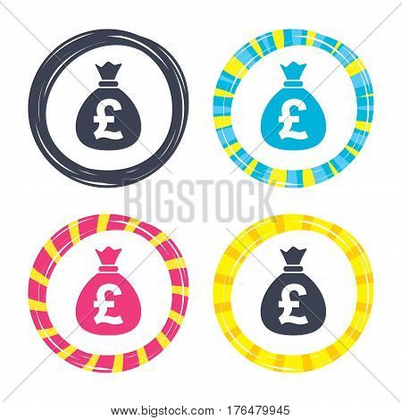 Money bag sign icon. Pound GBP currency symbol. Colored buttons with icons. Poker chip concept. Vector