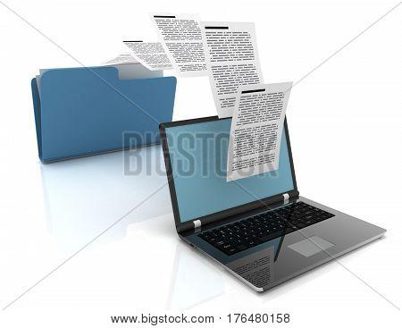 Files transfer between laptops and folder. 3d illustration.