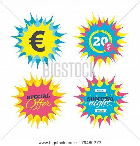 Shopping offers, special offer banners. Euro sign icon. EUR currency symbol. Money label. Discount star label. Vector