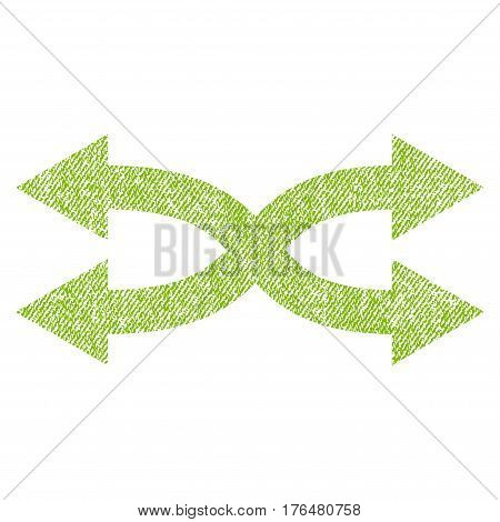 Shuffle Arrows Horizontal vector textured icon for overlay watermark stamps. Fabric light green vectorized texture. Symbol with scratched design. Rubber seal stamp with fiber textile structure.