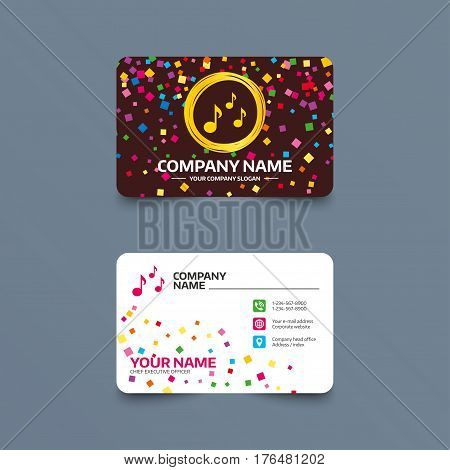 Business card template with confetti pieces. Music notes sign icon. Musical symbol. Phone, web and location icons. Visiting card  Vector